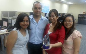 Yannick Lothou, Director of AGS Movers Singapore and his team awarded