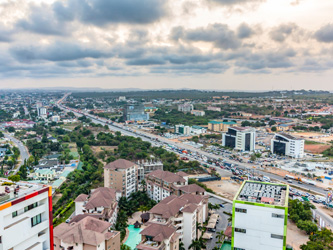 View of Airport City in Accra, Ghana.