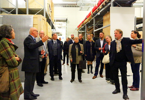 Delegates gathered in AGS Froesch Berlin's storage facility.